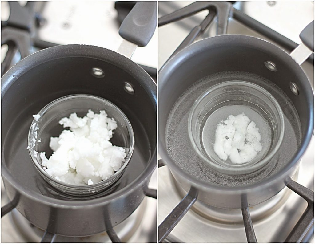 Melting Coconut Oil in a Double Boiler