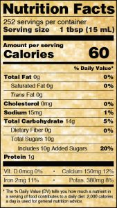 Nutritional Info for Golden Barrel Blackstrap Molasses 128 oz.