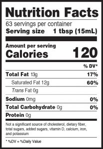 Nutritional Info for Golden Barrel Butter Flavored Coconut Oil