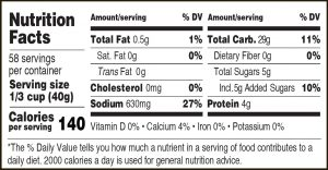 Nutritional Info for Golden Barrel Pancake & Waffle Mix 5 lbs.