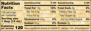 Nutritional Info for Golden Barrel Peanut Oil 128 oz.