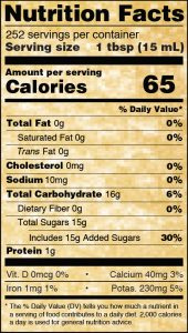 Nutritional Info for Golden Barrel Supreme Baking Molasses 128 oz.