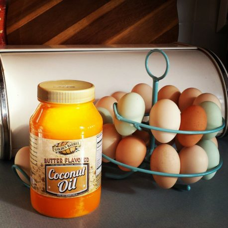 Golden Barrel Butter Flavored Coconut Oil and Eggs