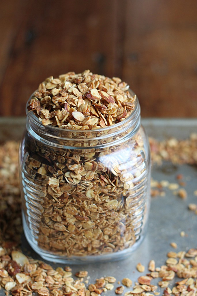 Homemade Granola (with Butter Flavored Coconut Oil) in jar