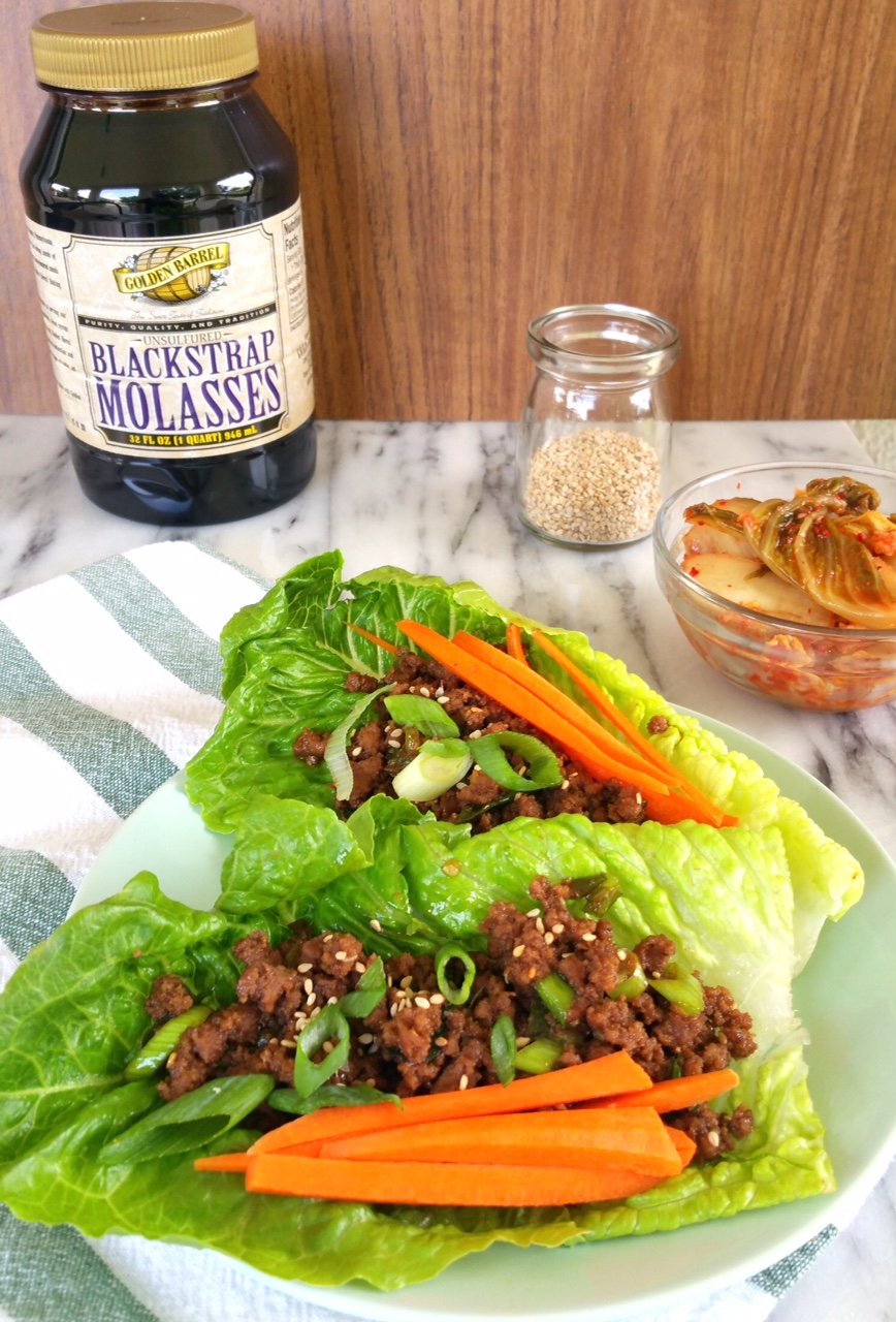 Korean Lettuce Wraps made with Golden Barrel Blackstrap Molasses