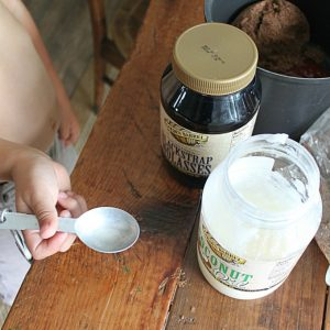 Coat your Spoons with Coconut Oil so that Molasses Will Not Stick to the Spoon