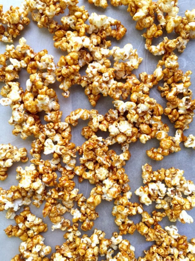 Dairy Free Caramel Popcorn on wax paper