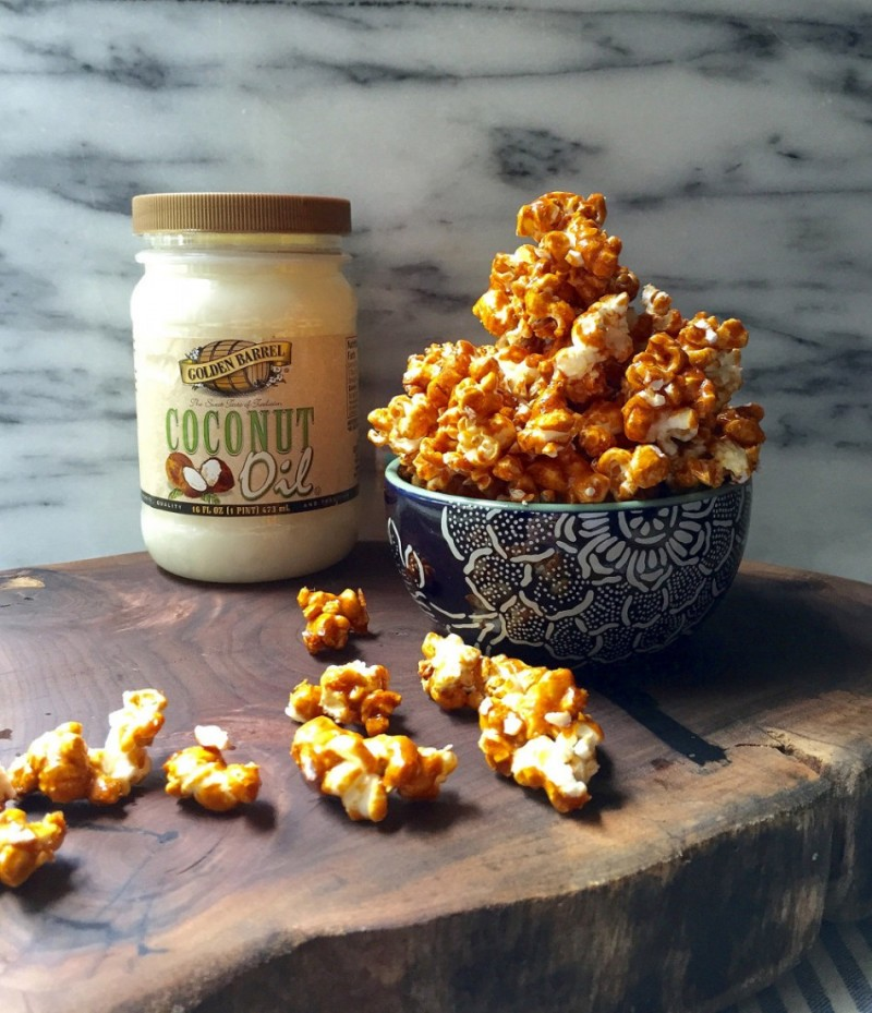 Caramel Corn made with Golden Barrel Coconut Oil