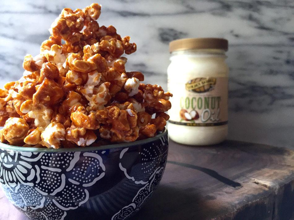 Caramel Popcorn made with Golden Barrel Coconut Oil