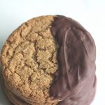 Stack of Chocolate Dipped Brown Butter Brown Sugar Cookies