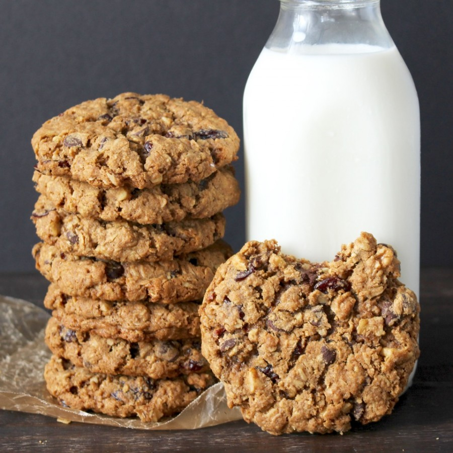 Stack of Big and Chewy Oatmeal Cookies