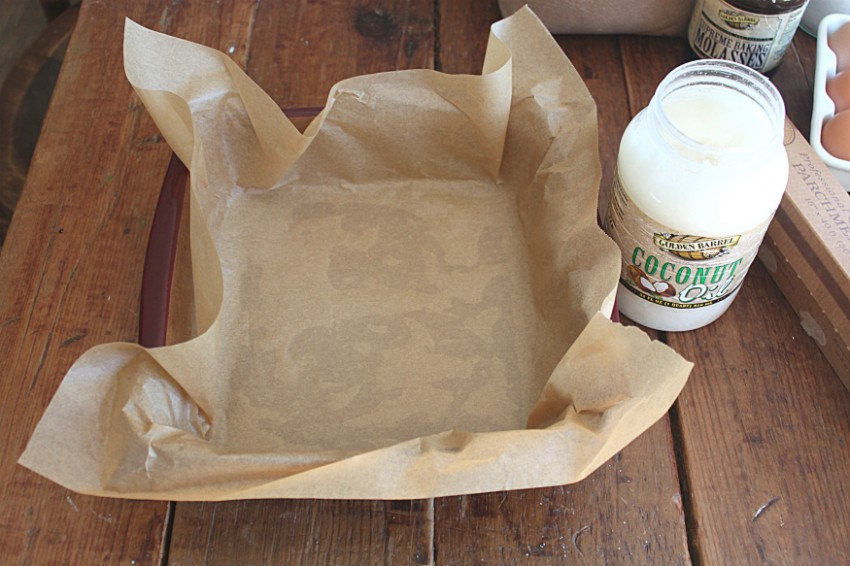 Parchment paper greased with Golden Barrel Coconut Oil