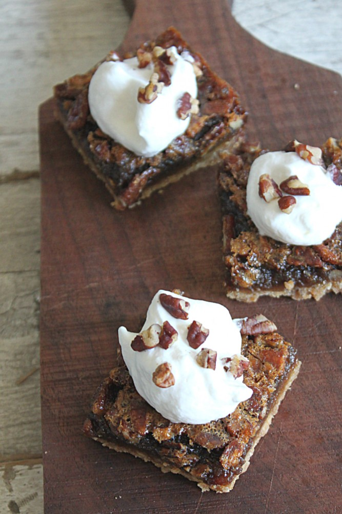 Pecan Bars on a Board