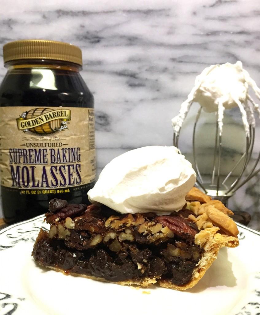 Slice of Maple Dark Chocolate Pecan Pie with Golden Barrel Molasses
