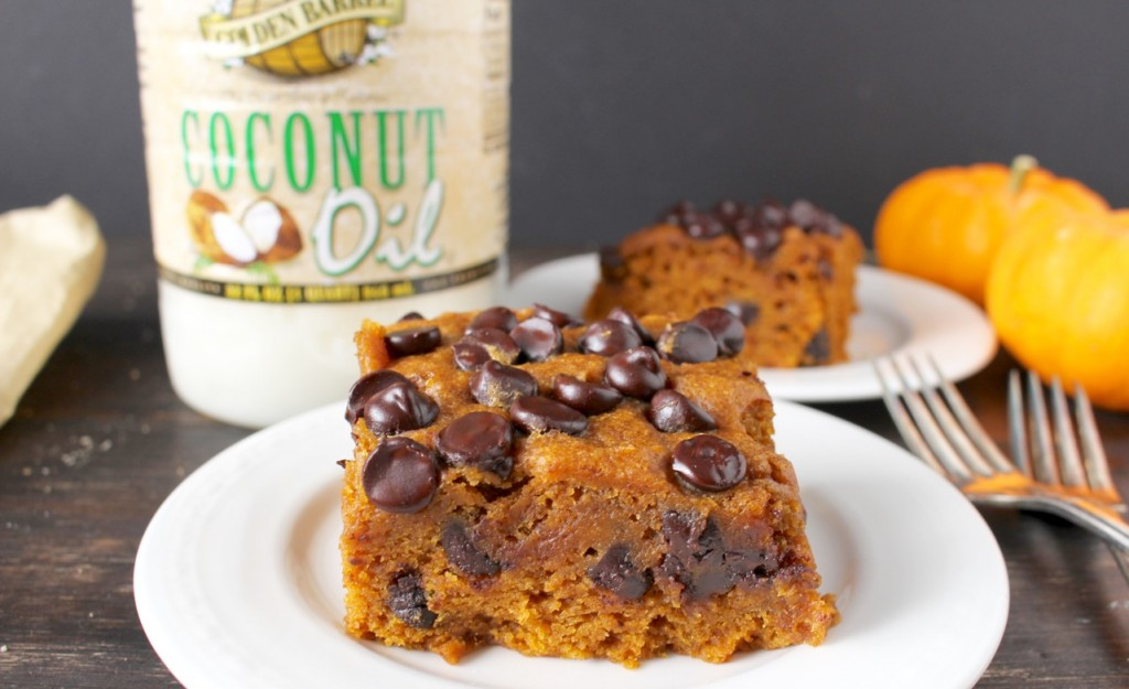 Pumpkin Chocolate Chip Cake made with Golden Barrel Coconut Oil