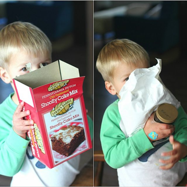 Kids help in the kitchen making Golden Barrel Shoofly Cake Mix