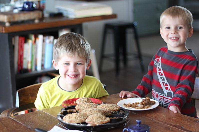2 boys enjoying Golden Barrel Shoofly Cake Mix