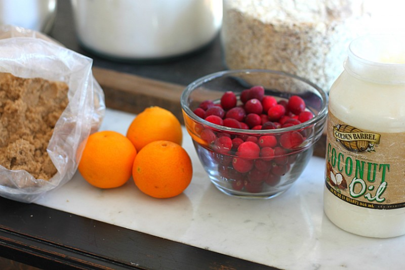 Golden Barrel Coconut Oil and Ingredients to make Cranberry Orange Bread.