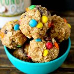 Peanut Butter Oatmeal Balls with M&M's