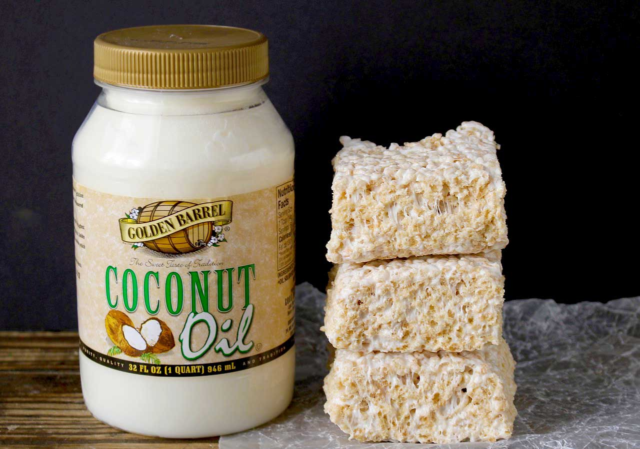 Coconut Oil Rice Crispy Treats Golden
