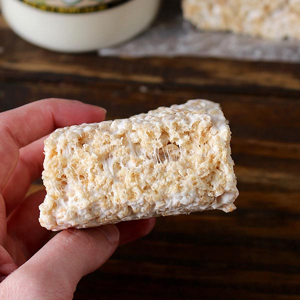 Coconut Oil Rice Crispy Treat in Hand