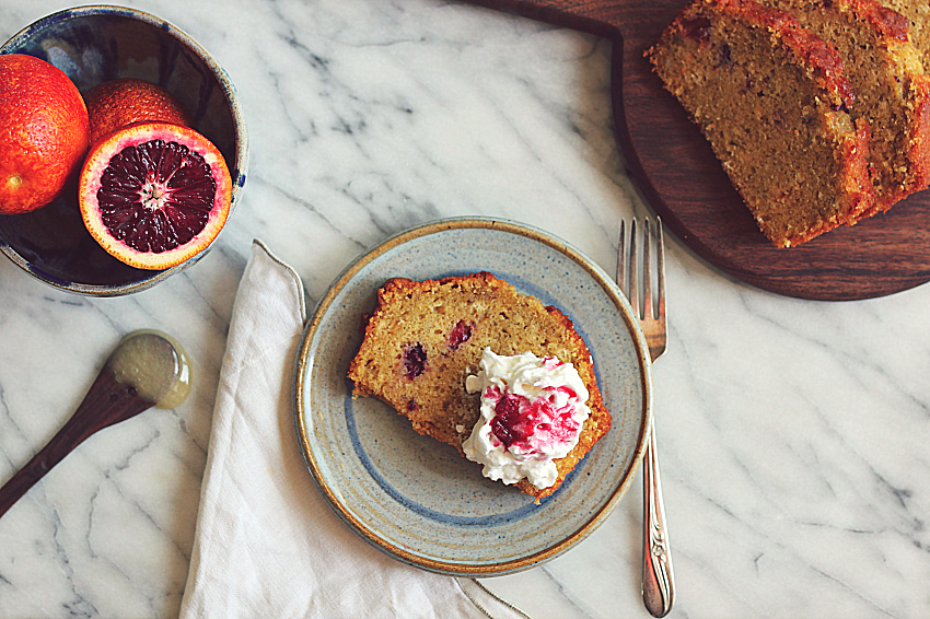 Blood Orange Olive Oil Cake with whipped cream