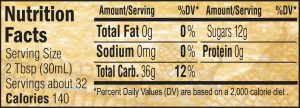 Nutritional Info for Golden Barrel Non-GMO Corn Syrup 32 oz.