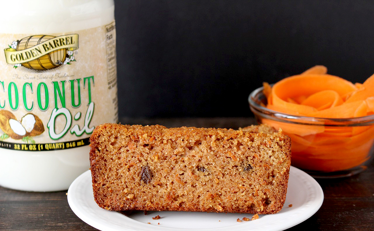 Paleo Carrot Cake Bread made with Golden Barrel Coconut Oil