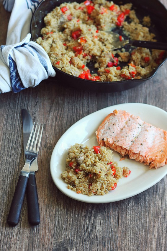 Fried Quinoa in Coconut Oil with Veggies served with Salmon