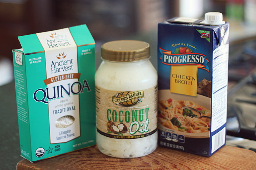 Ingredients to make Fried Quinoa in Coconut Oil