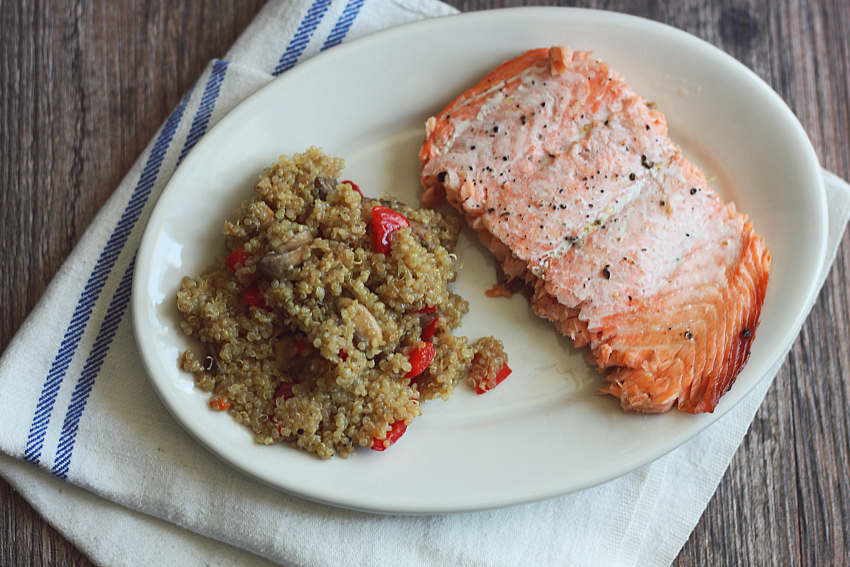 Fried Quinoa in Coconut Oil Served with Salmon