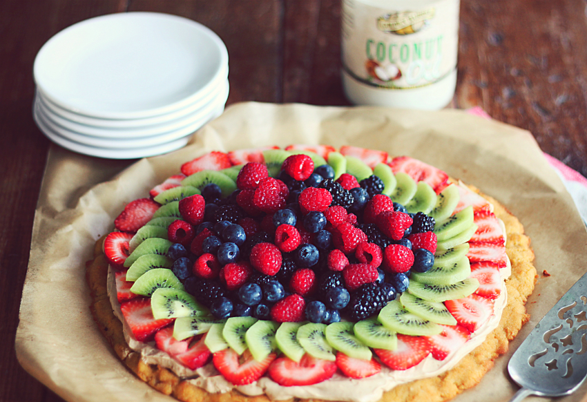 Gluten Free and Refined Sugar Free Fruit Pizza made with Golden Barrel Coconut Oil