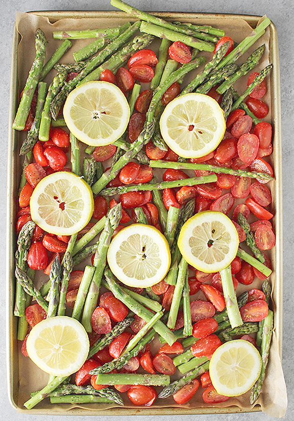 Sheet Pan Chicken Veggie Dinner with Asparagus and Tomatoes