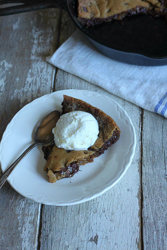 Skillet Chocolate Chip Cookie Pie with Ice Cream