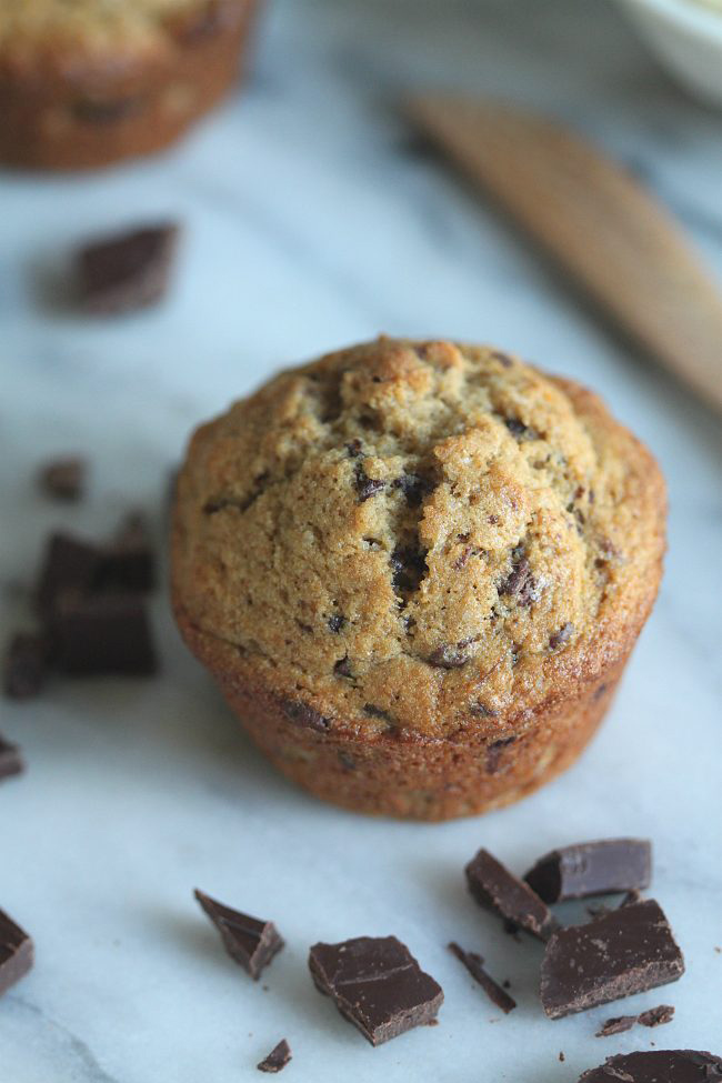 Banana Chocolate Chunk Sprouted Wheat Muffins with Coconut Oil