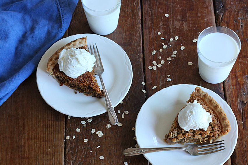 Oatmeal Pie Two Ways - Molasses on Left or Brown Sugar on Right