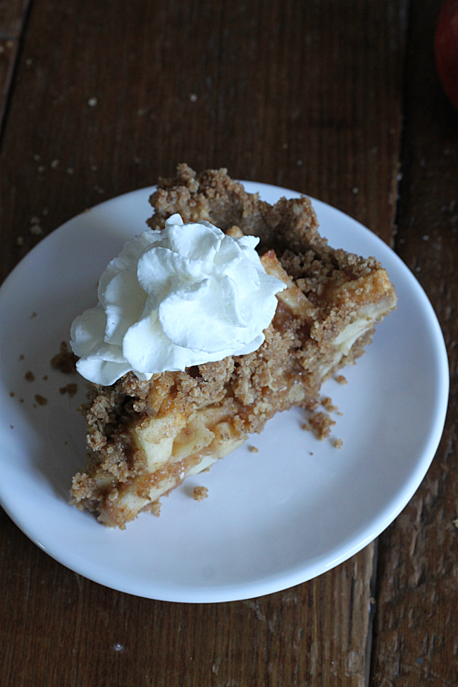 Piece of Dutch Apple Pie with Brown Butter Crust