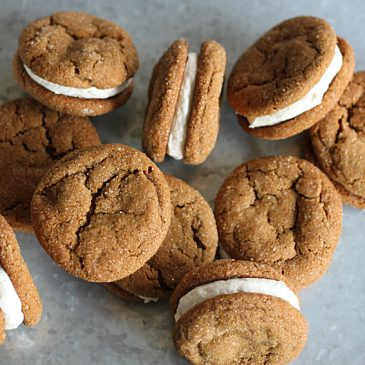Chewy Molasses Cookie Sandwiches with Cream Cheese Filling