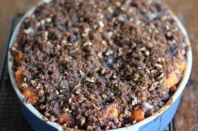 Sweet Potato Casserole with Pecan Brown Sugar Crumb Topping
