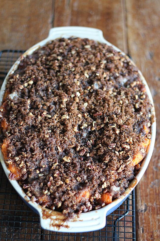 Sweet Potato Casserole with Pecan Brown Sugar Crumb Topping