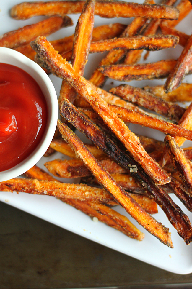 Crispy Sweet Potato Fries made with Coconut Oil with Ketchup