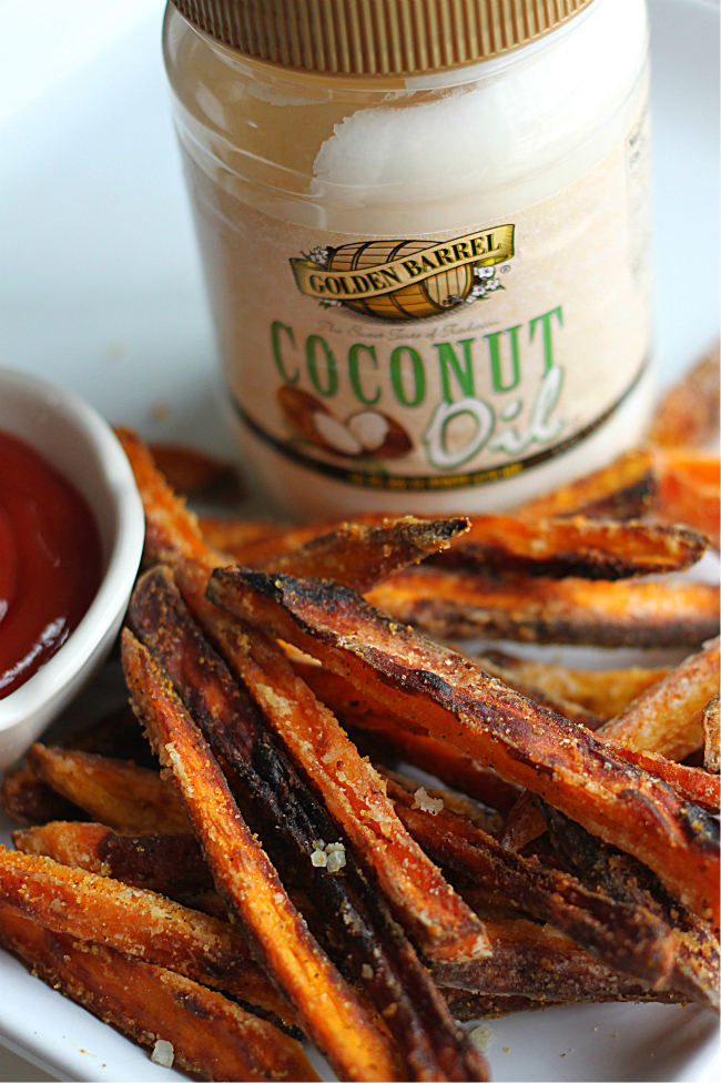 Crispy Sweet Potato Fries made with Golden Barrel Coconut Oil