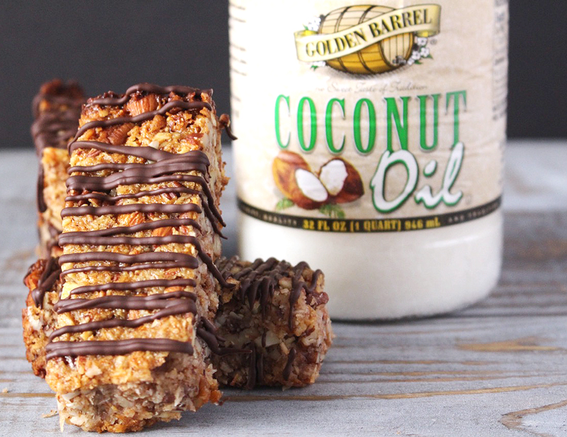 Paleo Chewy Granola Bars made with Golden Barrel Coconut Oil