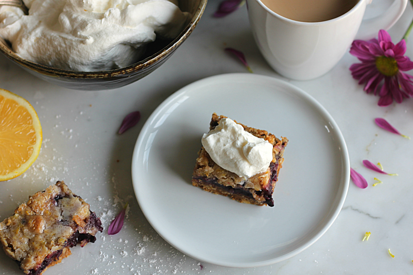 Blueberry Lemon Crumb Bars with Whipped Cream