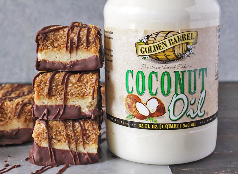 Paleo Samoa Cookie Bars with Golden Barrel Coconut Oil