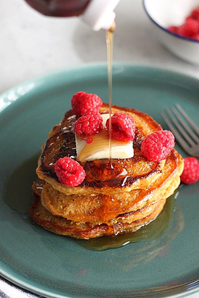 Adding Syrup to Cornmeal Molasses Pancakes