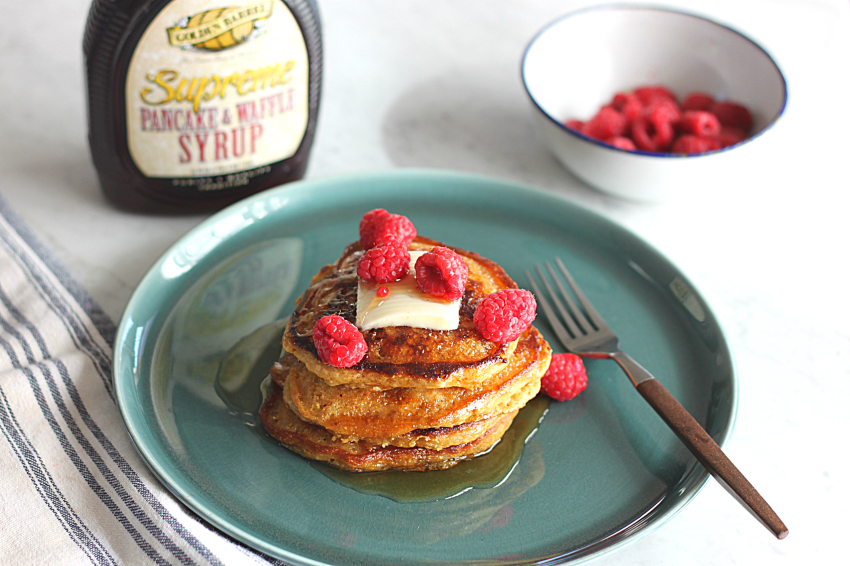 Cornmeal Molasses Pancakes with Golden Barrel Supreme Pancake & Waffle Syrup