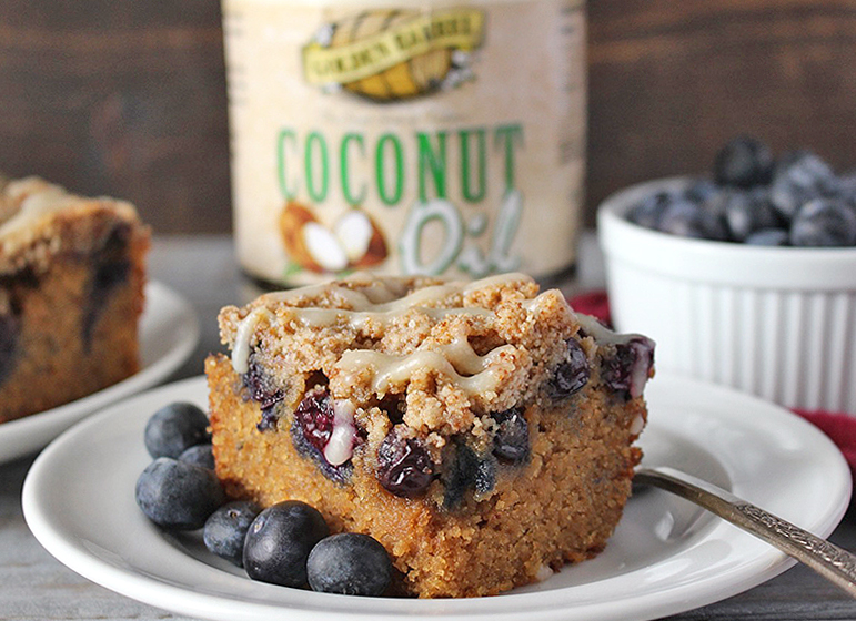 Paleo Blueberry Coffee Cake with Golden Barrel Coconut Oil