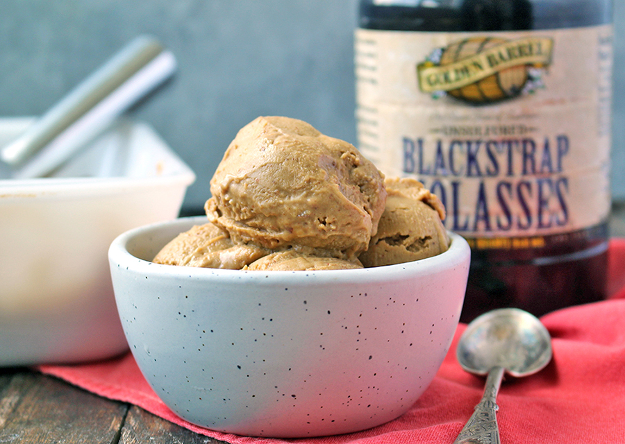 Paleo Almond Butter Molasses Ice Cream made with Golden Barrel Blackstrap Molasses