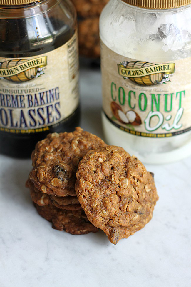 Oatmeal Molasses Cookies with Golden Barrel Molasses and Coconut Oil